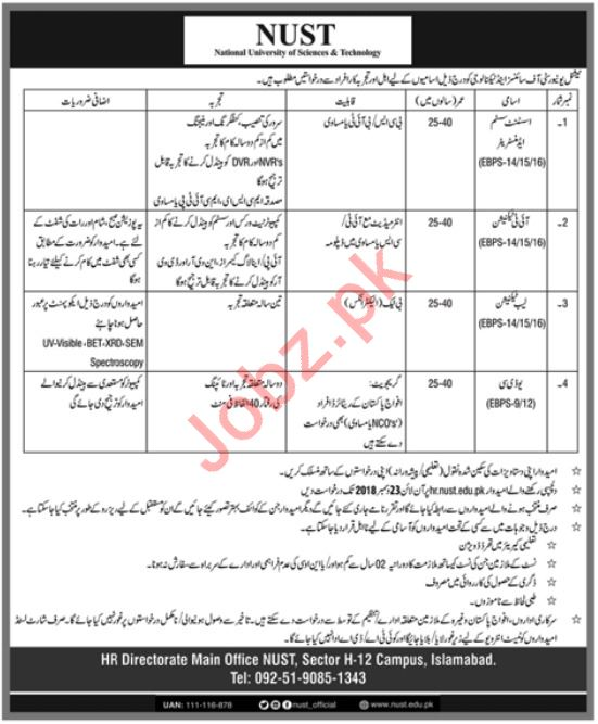 NUST University Islamabad Jobs 2019 for IT Officers