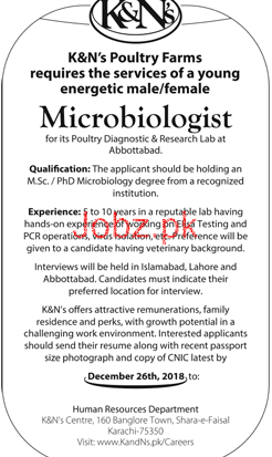 Microbiologist Job in K & N Poultry Farms