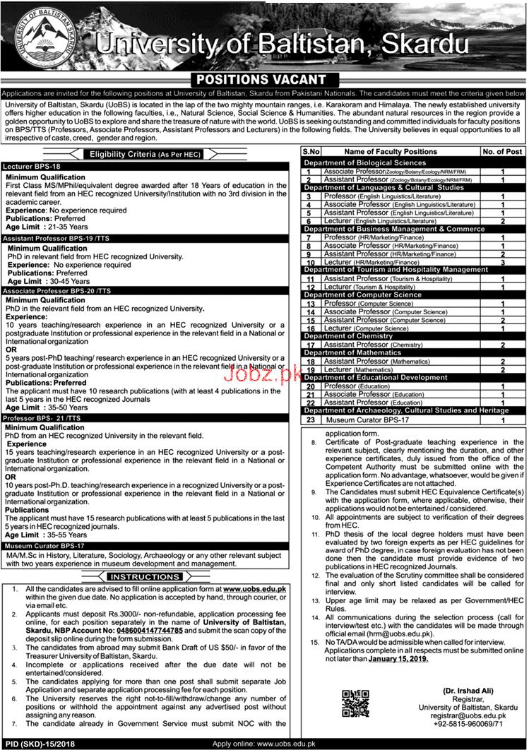 University of Baltistan Skardu Teaching Jobs