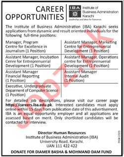 IBA Institute Karachi Jobs 2019 for Managers