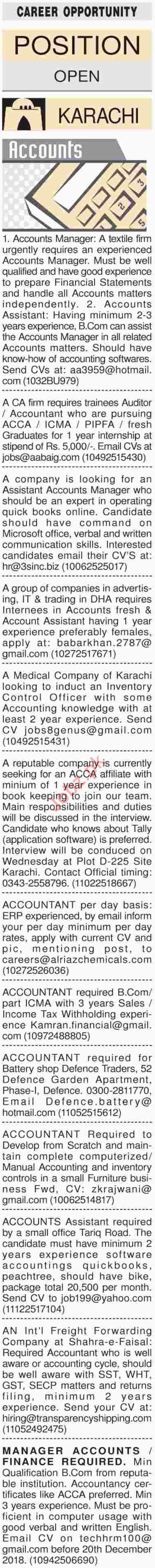 Dawn Sunday Classified Ads 16th Dec 2018 Accounts Staff