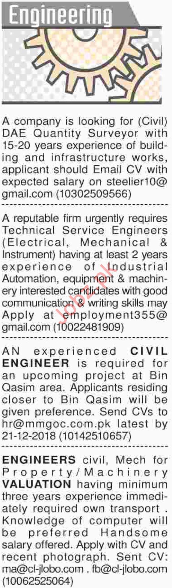 Dawn Sunday Classified Ads 16th Dec 2018 Engineering Staff