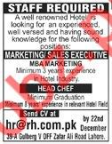 Marketing / Sales Executive, Head Chef Jobs 2019 in Lahore