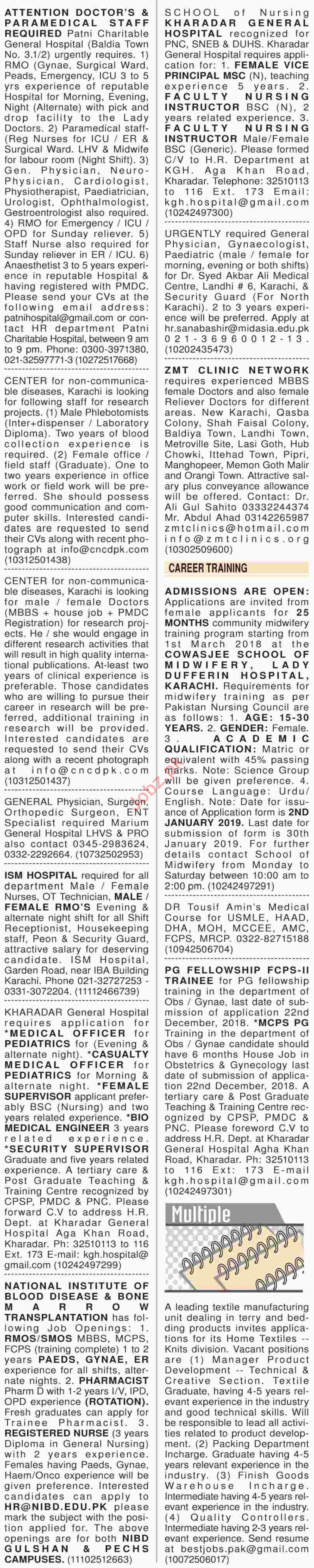 Dawn Sunday Classified Ads 16th Dec 2018 Medical Staff
