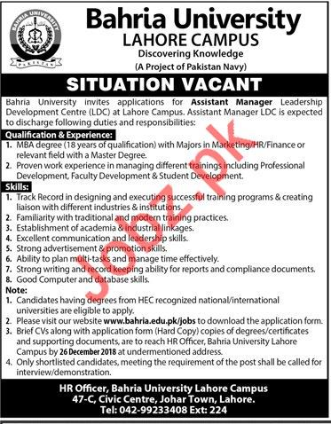 Bahria University Lahore Campus Jobs 2019