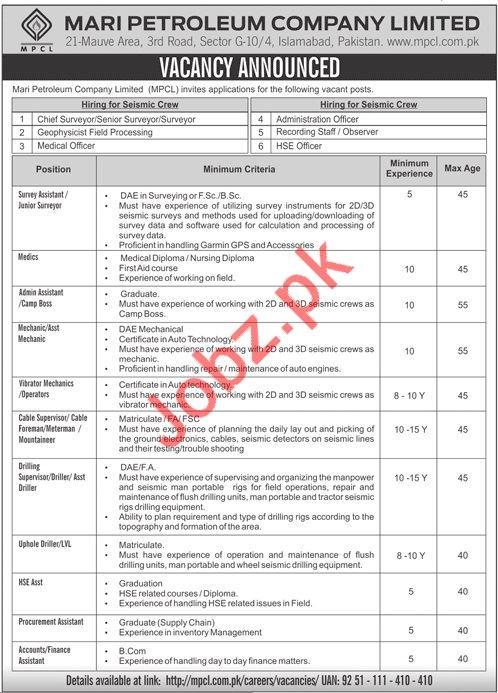 Mari Petroleum Company Limited MPCL Jobs 2019 Job