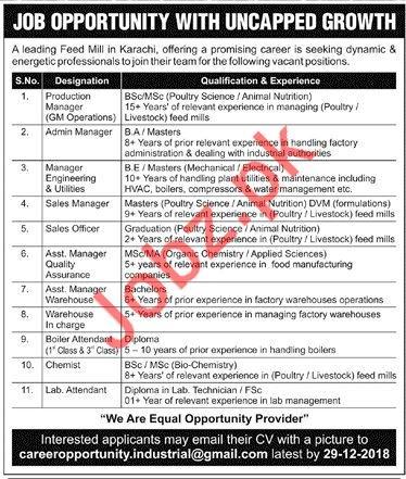 Feed Mills Jobs 2019 In Karachi