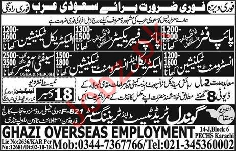 Pipe Fitter, Pipe Fabricator & Electrical Technician Jobs