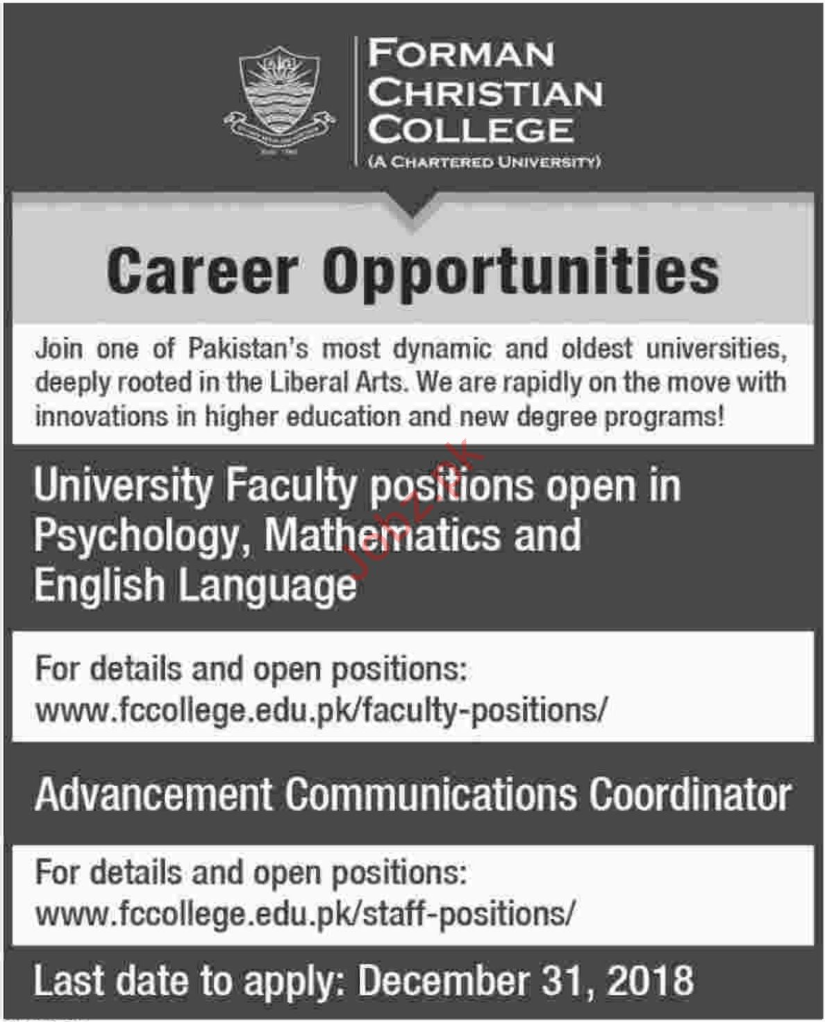 Forman Christian College Faculty Jobs 2019 in Lahore