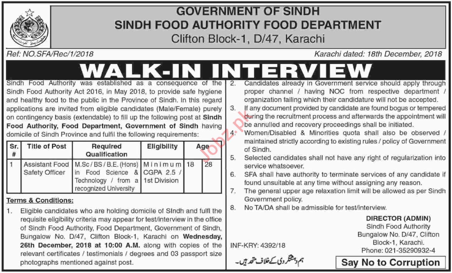 Sindh Food Authority Karachi Jobs Interview 2019