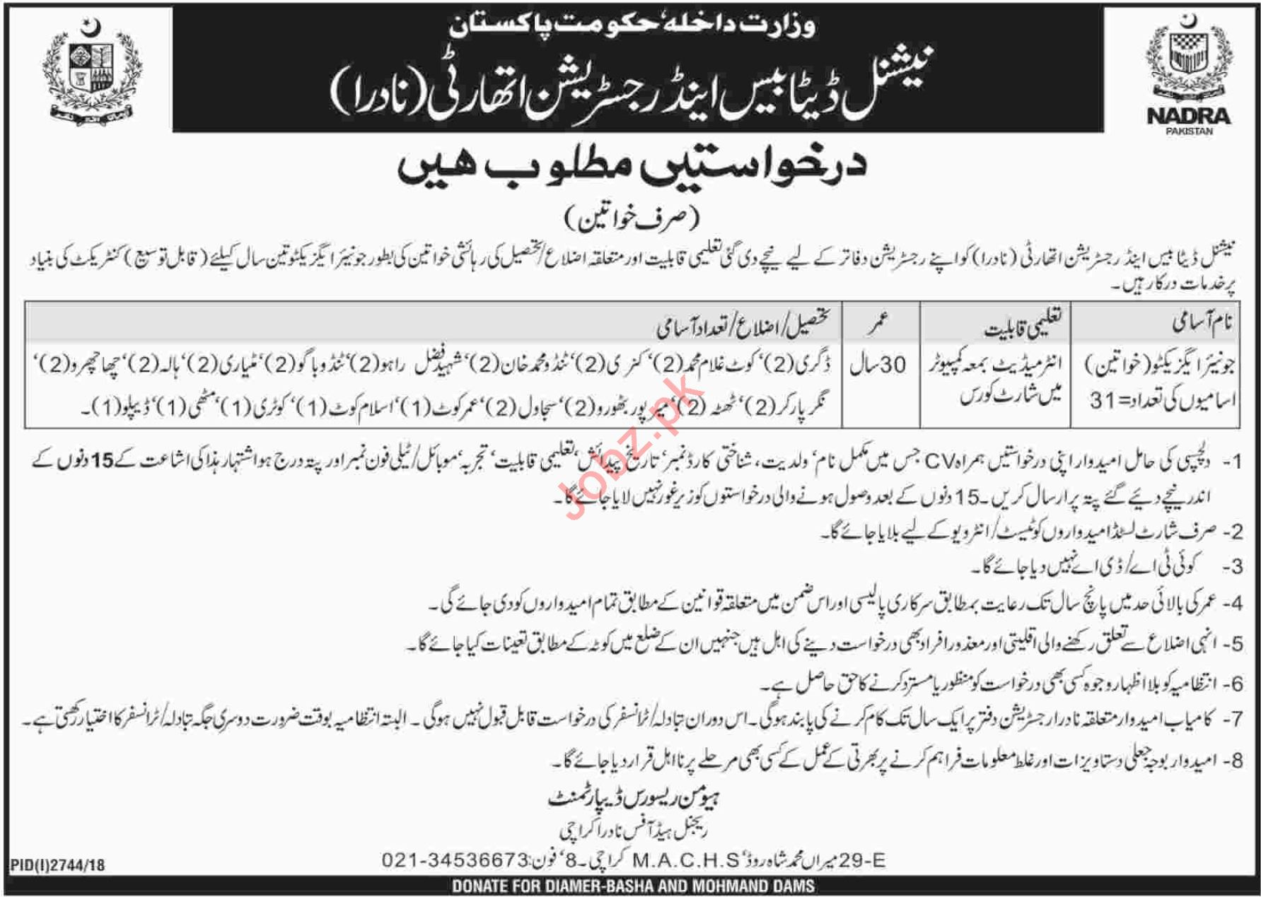 NADRA Regional Head Office Karachi Jobs 2019 Job