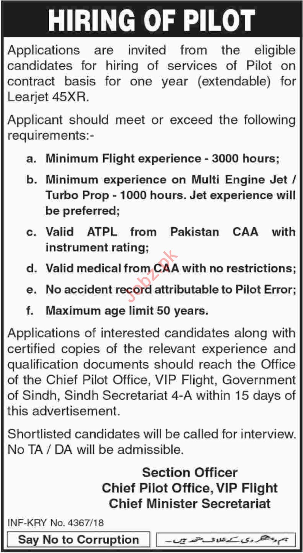 Chief Minister Secretariat Sindh Jobs 2019 for Pilot