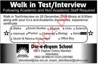 Dar-e-Arqam Schools Academic Staff Jobs Interviews 2019