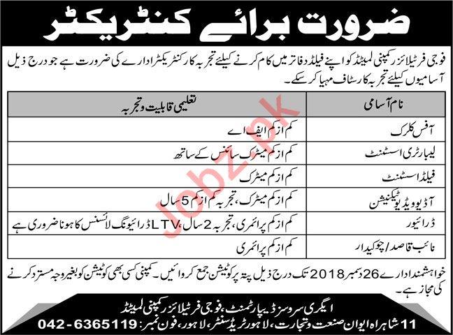 Fauji Fertilizer Company FFC Lahore Jobs 2019