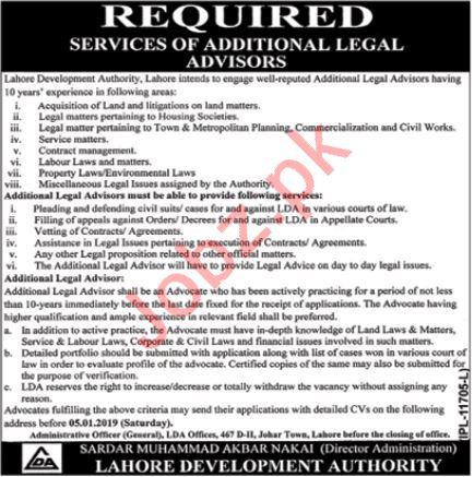 Lahore Development Authority LDA Jobs 2019 Legal Advisor