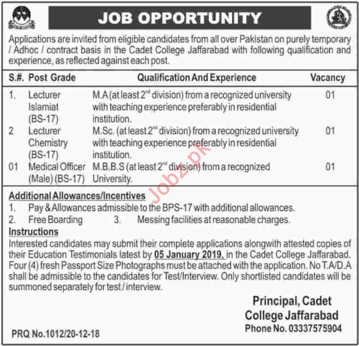 Cadet College Jafarabad Jobs 2019 for Lecturers & Doctors