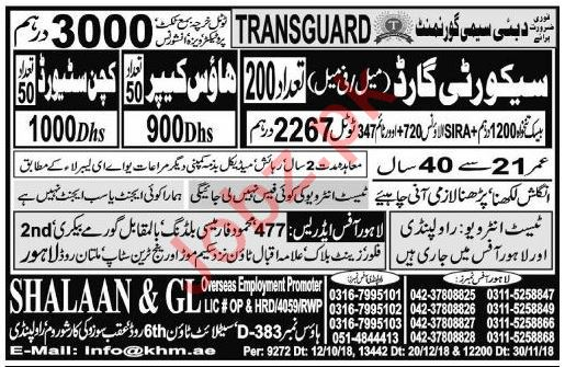 Security Guard, House Keeper & Packing Worker Jobs 2019