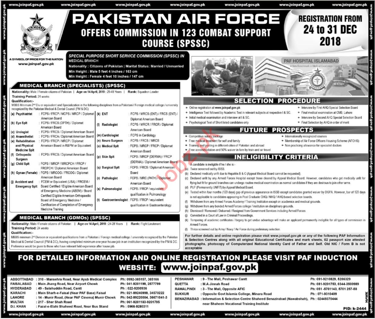 Join Pakistan Air Force PAF as Commission 123 Combat Course
