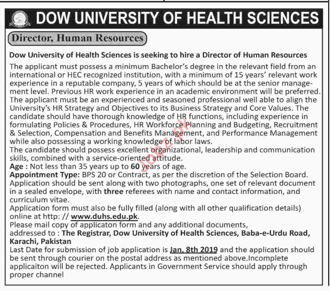 Director Human Resources Jobs at Dow University