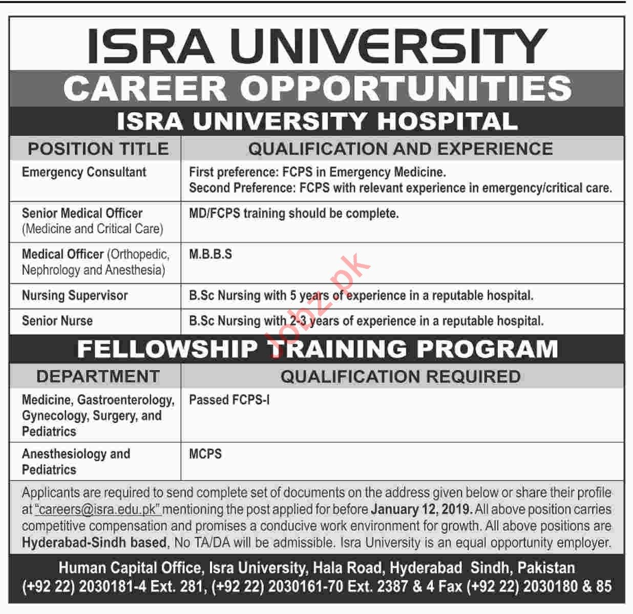 Emergency Consultant Jobs at ISRA University