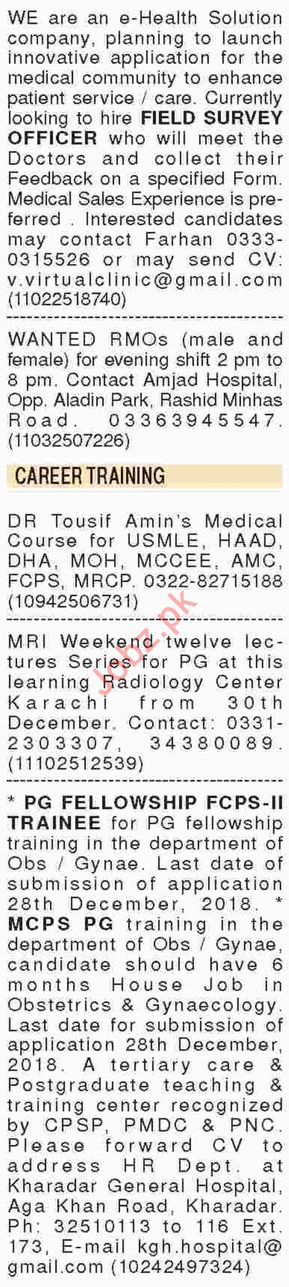 Dawn Sunday Newspaper Medical Classified Ads 23/12/2018
