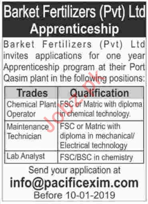 Barket Fertilizers Pvt Ltd Jobs for Chemical Plant Operator
