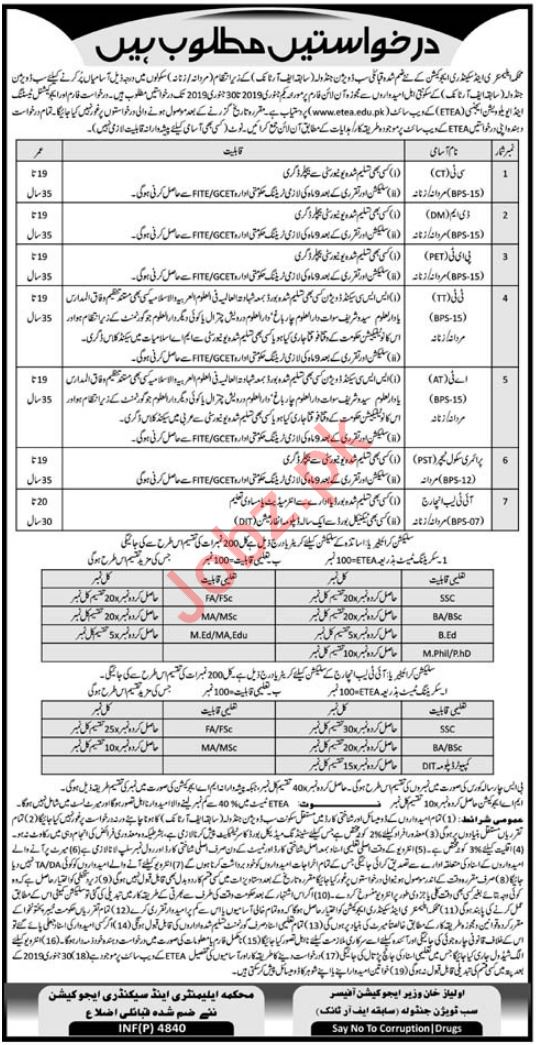 Elementary & Secondary Education Department Jobs via ETEA
