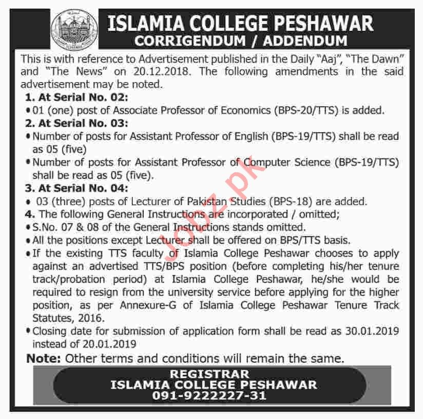 Islamia College Peshawar Associate Professor Economics Jobs