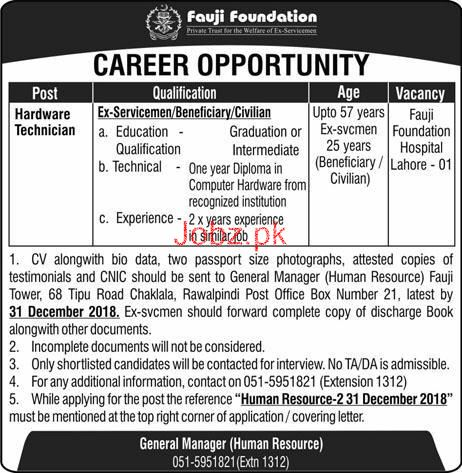 Fauji Foundation  Hardware Technicians Jobs