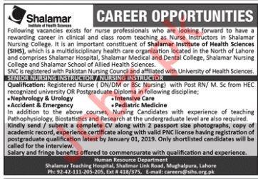 Shalamar Institute of Health Sciences Nursing Instructor Job