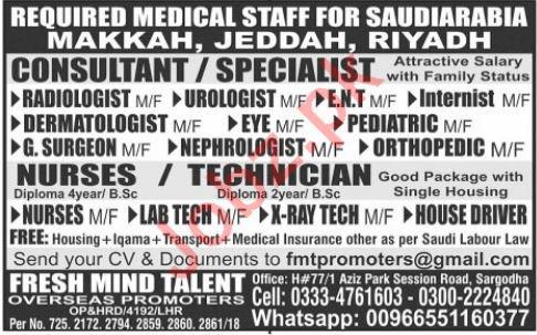 Medical Jobs 2019 in Makkah, Jeddah & Riyadh Saudi Arabia