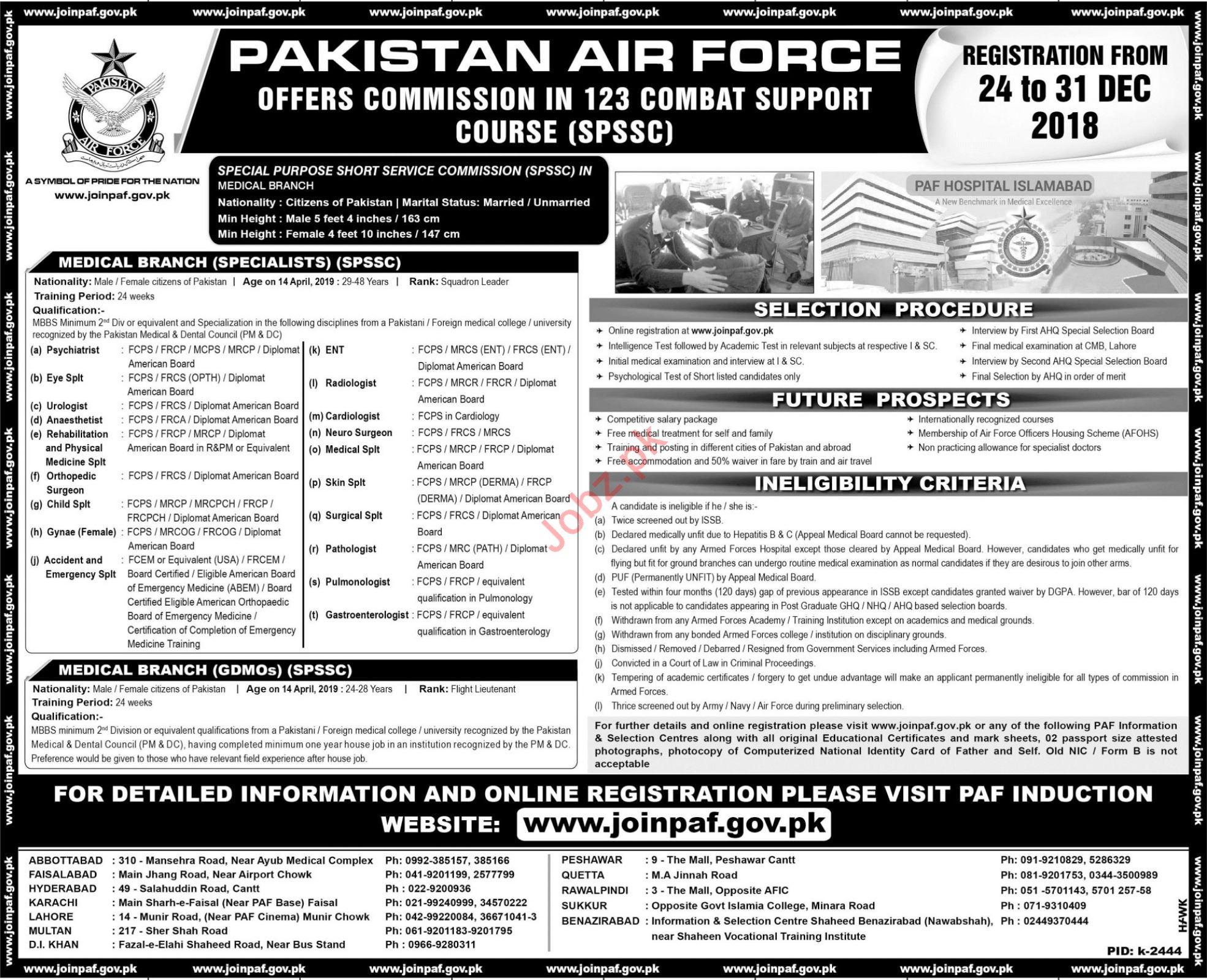 PAF Pakistan Air Force Medical Jobs 2019