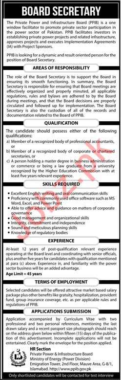 Board Secretary Career Opportunities at PPIB