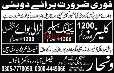 Cleaners, Packing Helper, Trolly Boys Job Opportunity