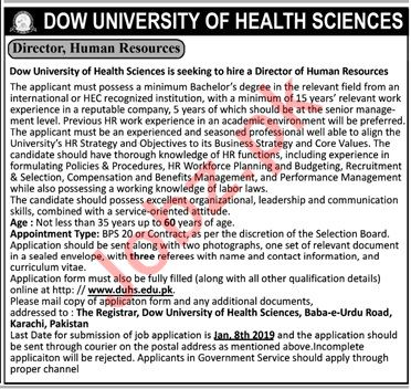Director Human Resources Careers at Dow University