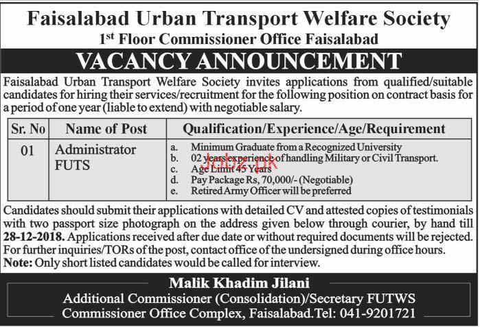 Faisalabad Urban Transport Welfare Society FUTS Jobs