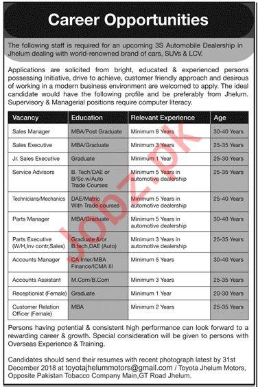Sales Manager Jobs at Toyota Motors