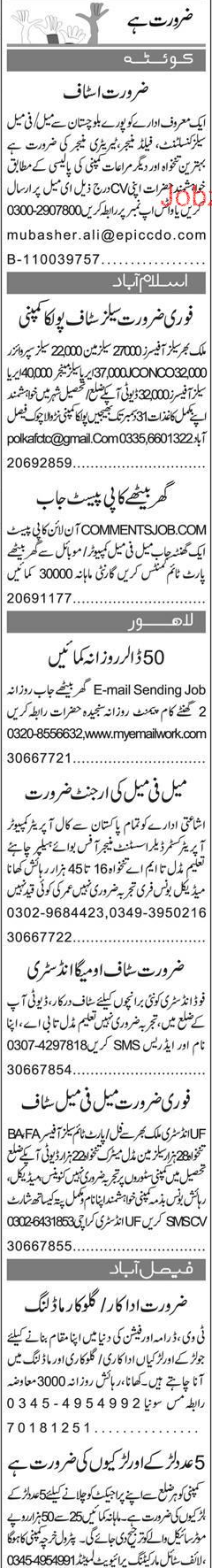 Field Manager, Sales Officer, Data Entry Operator Wanted