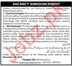 Food Technologist Job Opportunities at Factory