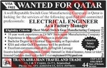 Electrical Engineers Jobs 2019 in Qatar