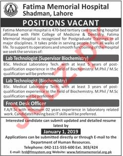 Lab Technologist Supervisor Biochemistry Jobs at FMH