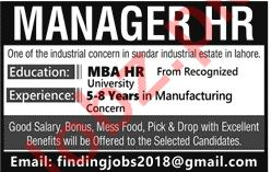 Manager HR Job 2019 in Lahore