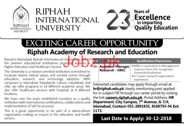 Assistant Manager Research Job in Riphah International Uni