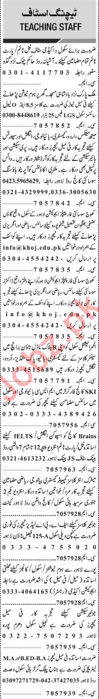 Jang Sunday Classified Ads 23rd Dec 2018 Educational Staff