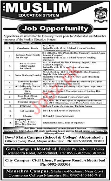 The Muslim Education System Mansehra Jobs 2019 for Teachers