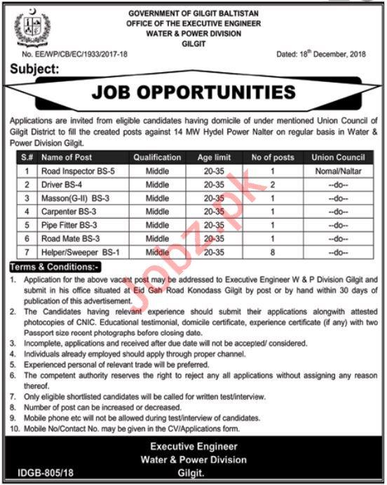 Water & Power Division Gilgit Jobs 2019
