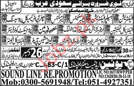 Electrician, Electrician Helper, Plumber & Labor Jobs 2019