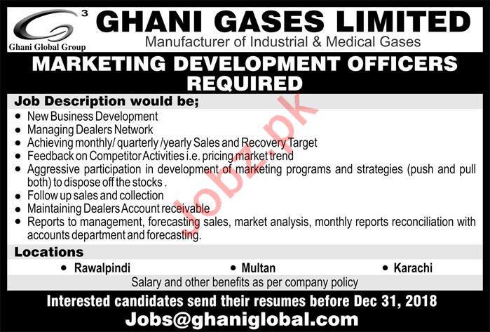 Ghani Gases Rawalpindi Jobs Marketing Development Officer