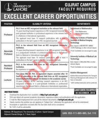 The University of Lahore Gujrat Campus Jobs 2019