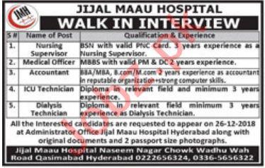 Jijal Maau Hospital JMH Hyderabad Jobs 2019 for Doctors